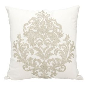 Mina Victory Luminescence Damask Beaded Throw Pillow