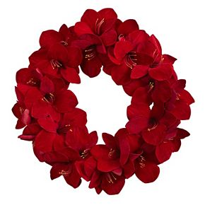 nearly natural Artificial Amaryllis Wreath