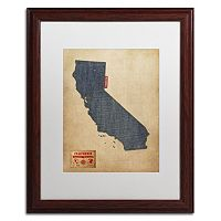 Trademark Global Denim State Wood Framed Canvas Wall Art