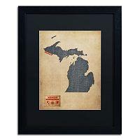 Trademark Global Denim State Framed Canvas Wall Art
