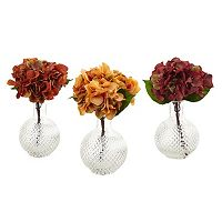 nearly natural Artificial Hydrangea Vase 3-piece Set