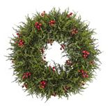 nearly natural Artificial Cedar Berry Wreath