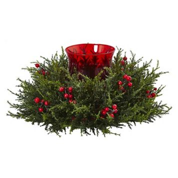 nearly natural Artificial Cedar Berry Candle Holder