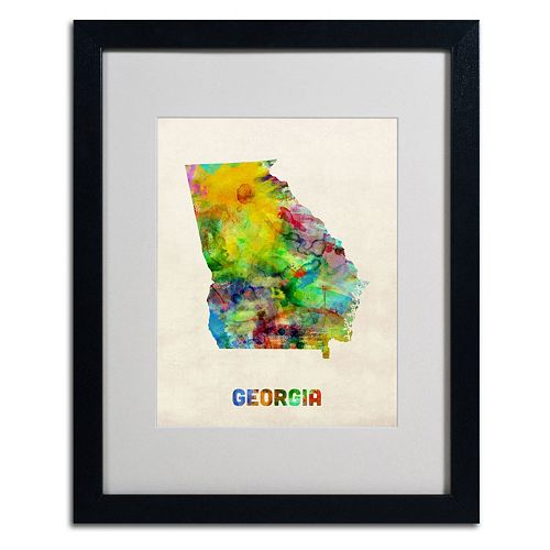Trademark Global Watercolor State Framed Canvas Wall Art