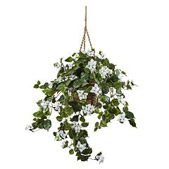 nearly natural Artificial Bougainvillea Hanging Basket