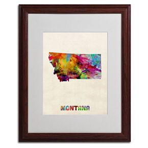 Trademark Global Watercolor State Wood Framed Canvas Wall Art