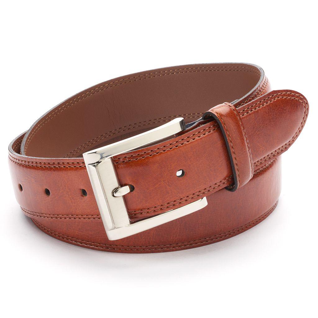 Big & Tall IZOD Double-Stitched Leather Belt