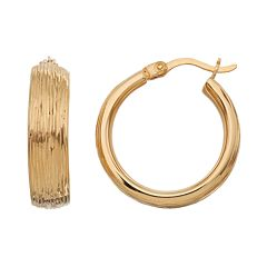 18k Gold Over Silver Textured Hoop Earrings
