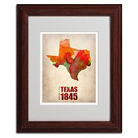 Trademark Global Watercolor State & Date Wood Framed Canvas Wall Art