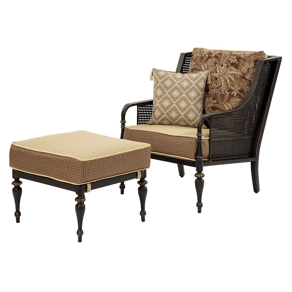 Bombay Outdoors Sherborne Palmetto Chair & Ottoman Set