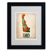 Trademark Global Watercolor State & Date Framed Canvas Wall Art