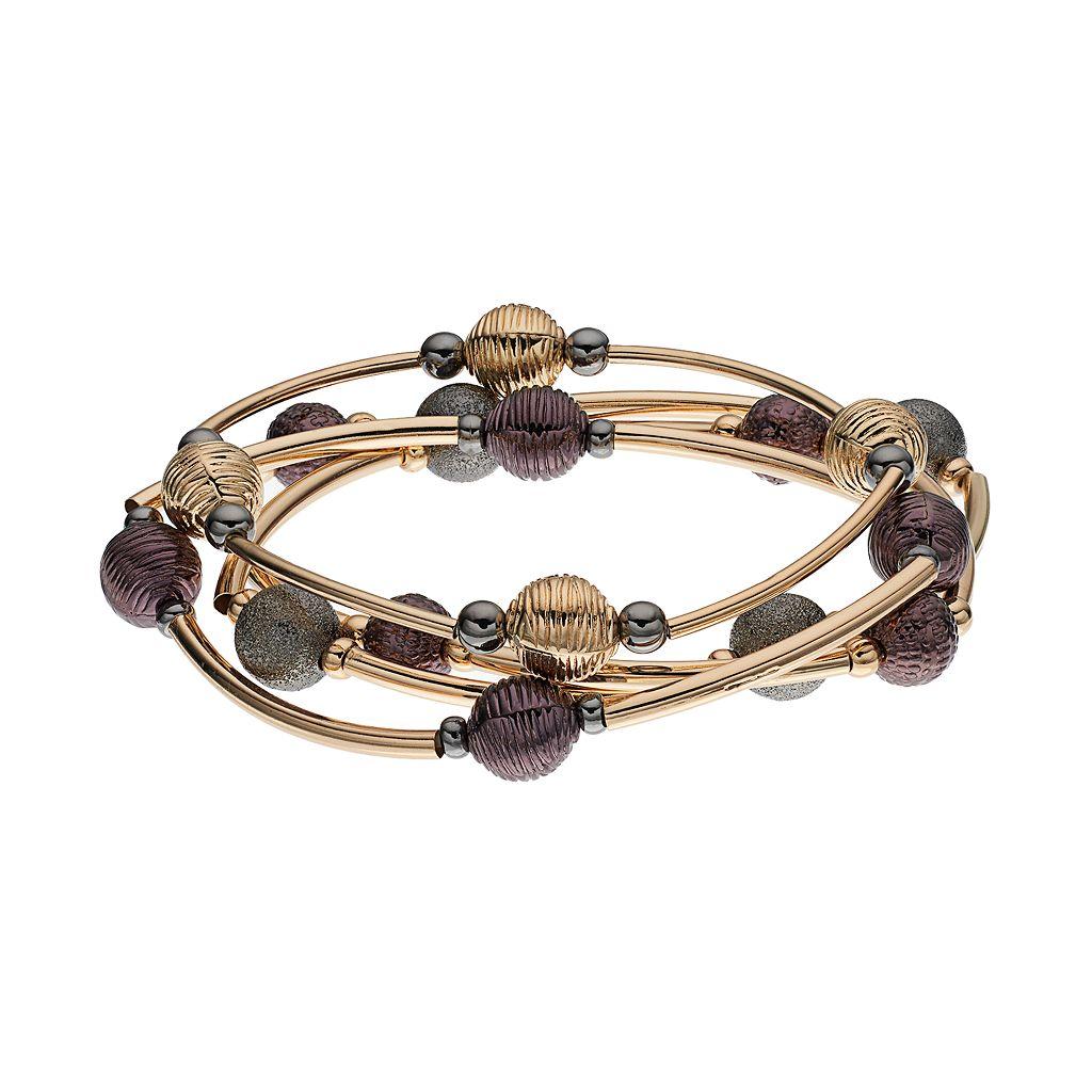 Two Tone Curved Bar Beaded Stretch Bracelet Set