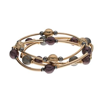 Two Tone Curved Bar Beaded Stretch Bracelet Set