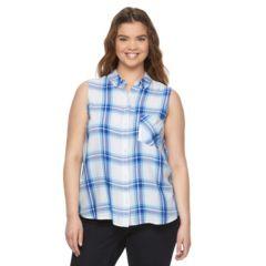 Juniors' Plus Size SO® Sleeveless Button-Down Plaid Shirt