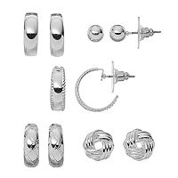 Apt. 9® Hoop, Love Knot & Ball Stud Earring Set