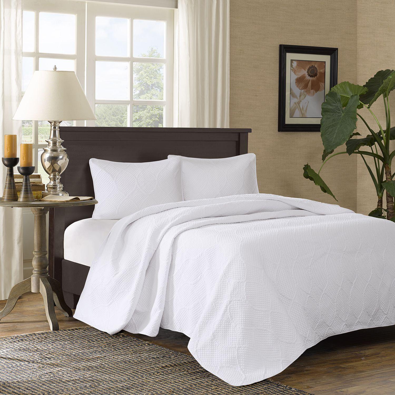 madison park adelle 3piece bedspread set white ivory sale