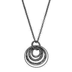 Hammered Interlocking Circle Pendant Necklace