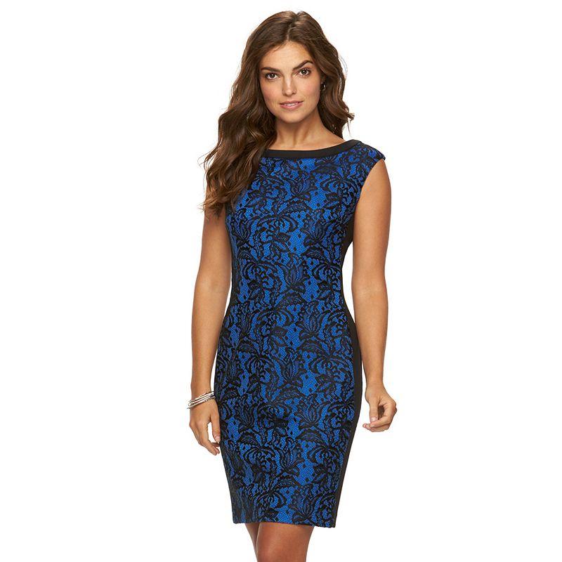 Women's Chaps Lace Sheath Evening Dress