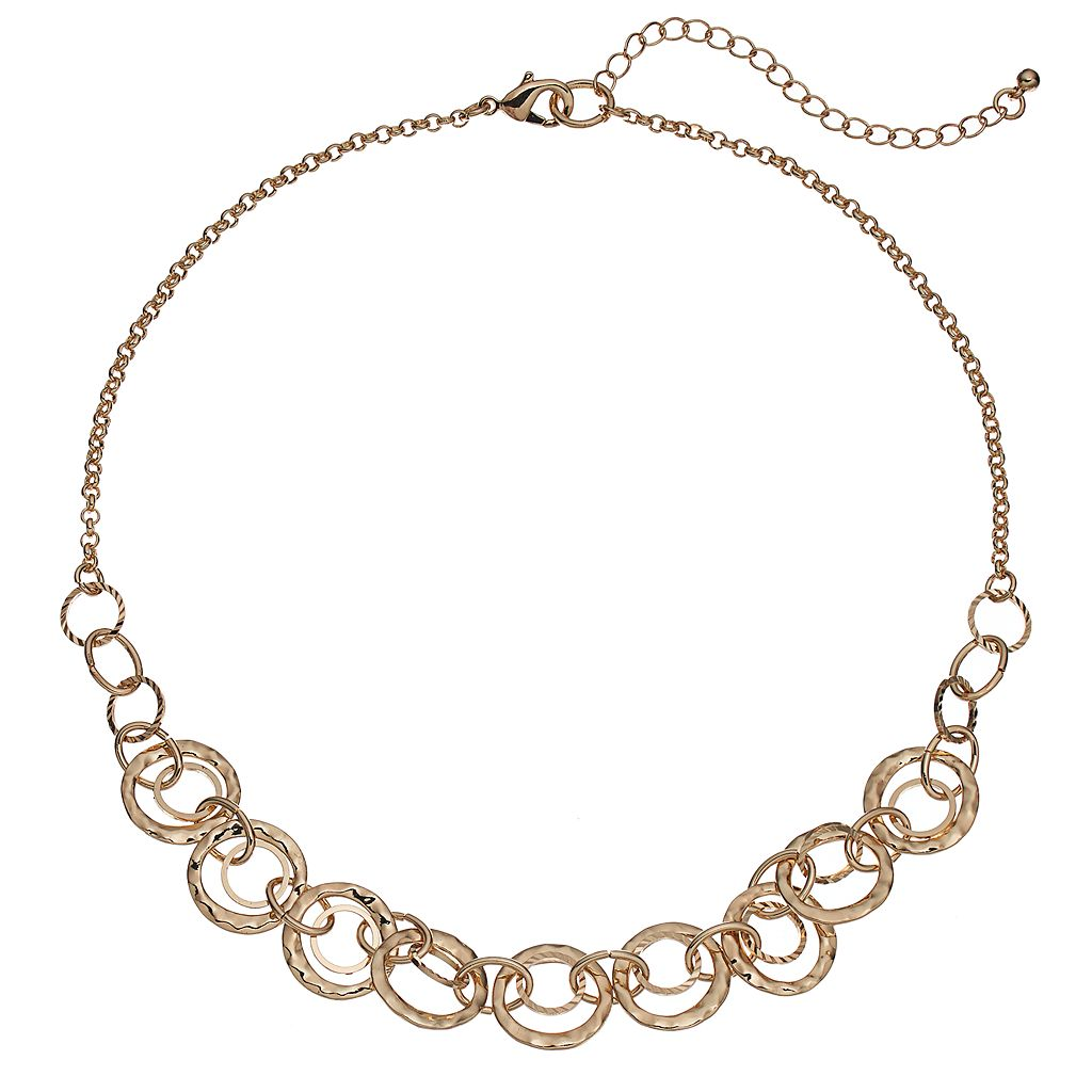 Hammered Circle Link Necklace