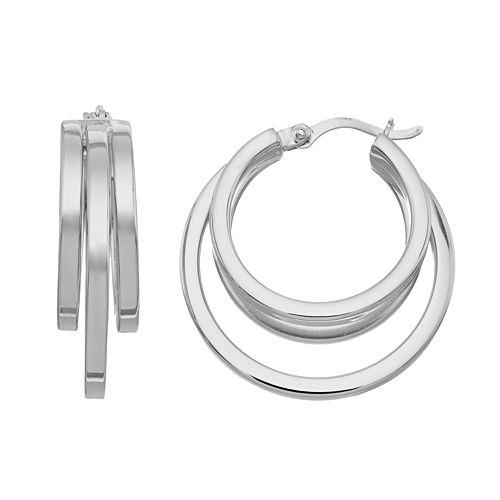 Platinum Over Silver Multi Hoop Earrings