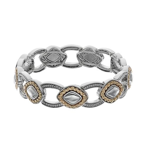 Napier Two Tone Diamond-Shaped Stretch Bracelet