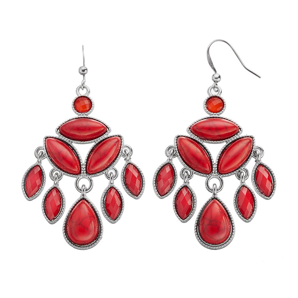 Red Cabochon Marquise Chandelier Earrings