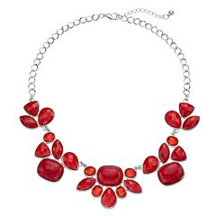 Red Geometric Statement Necklace