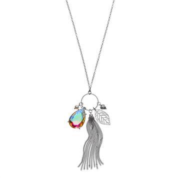 Mudd® Long Tassel, Flower & Leaf Charm Necklace