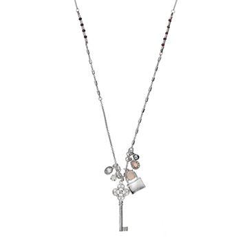 Mudd® Long Lock & Key Charm Necklace