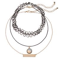 Mudd® Choker, Cord & Bar Link Necklace Set