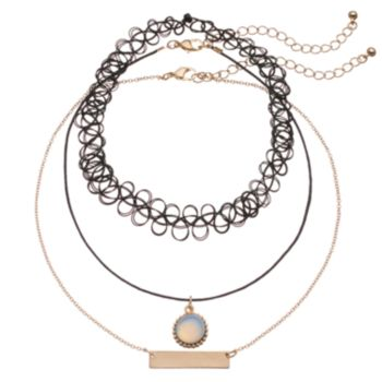Mudd® Choker, Cord & Bar Link Necklace Set