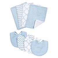 Trend Lab 8 pc Printed Bib & Burp Cloth Set