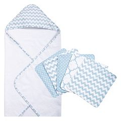 Trend Lab 6 pc Chevron Hooded Towel & Washcloth Set