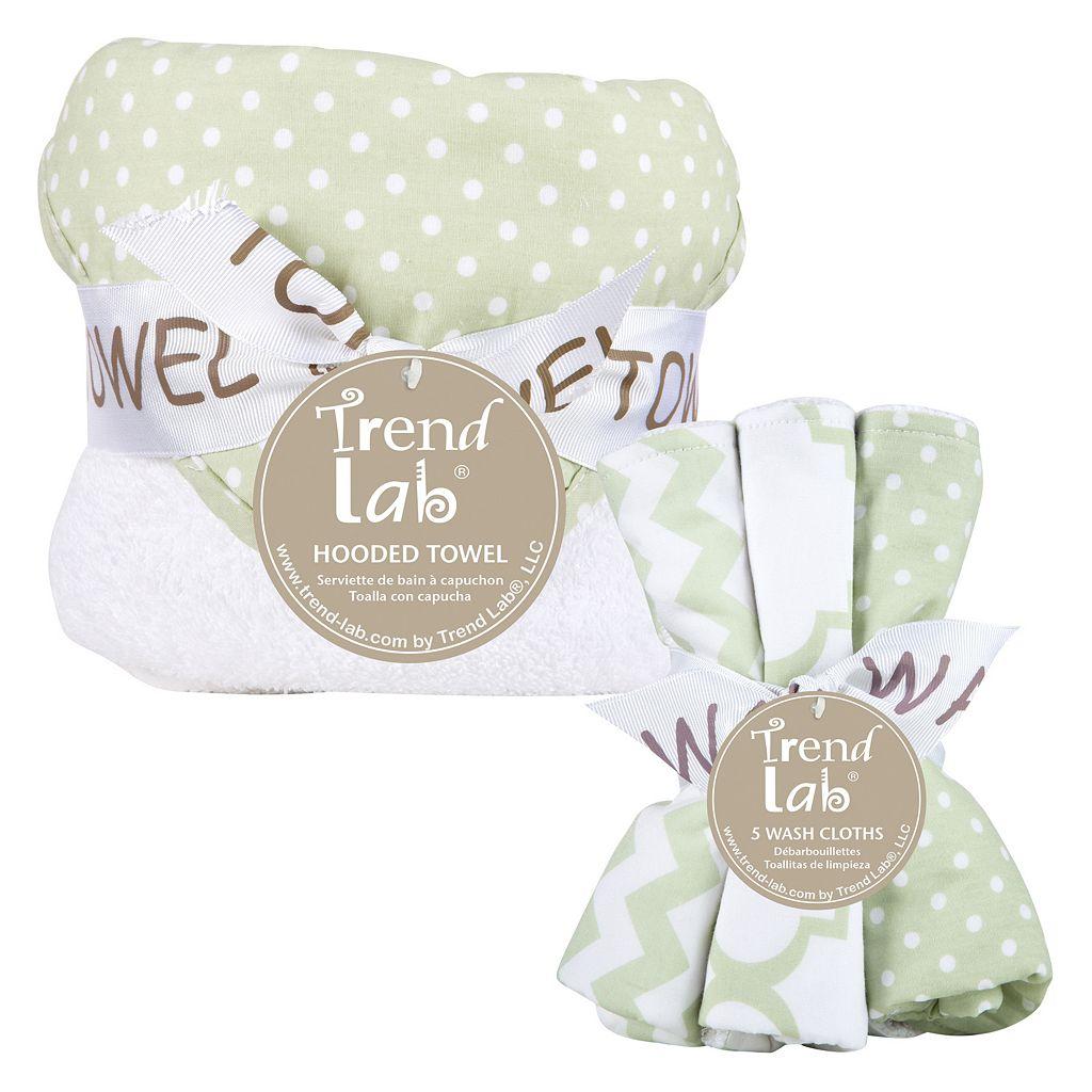 Trend Lab 6-pc. Polka-Dot Hooded Towel & Washcloth Set