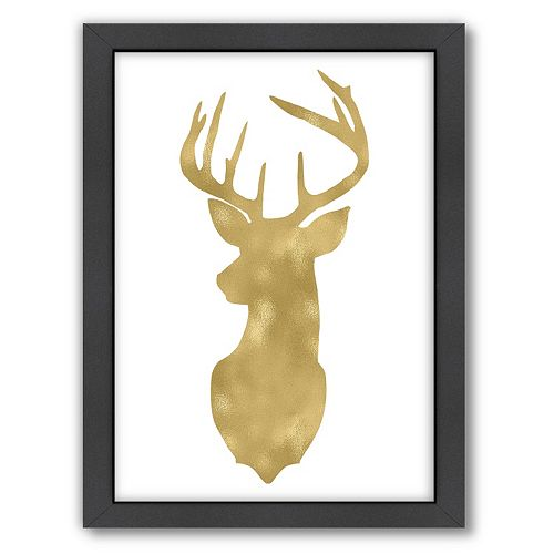 "Americanflat ""Deer Head Left Face"" Framed Wall Art by Amy Brinkman"