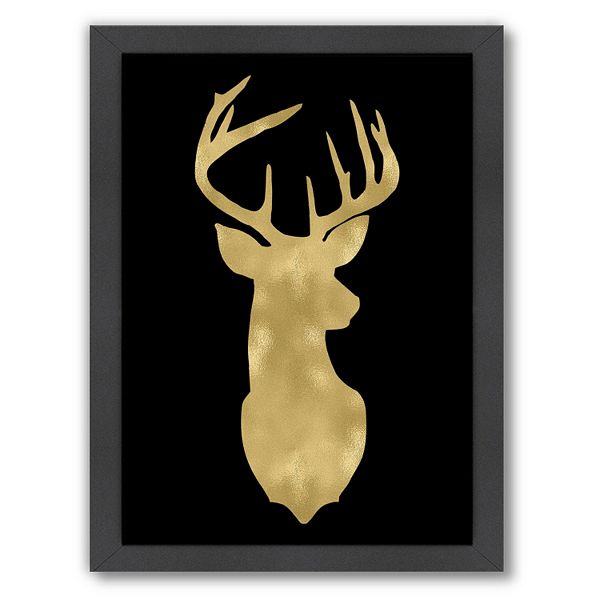 Americanflat Deer Head Right Face Framed Wall Art By Amy Brinkman
