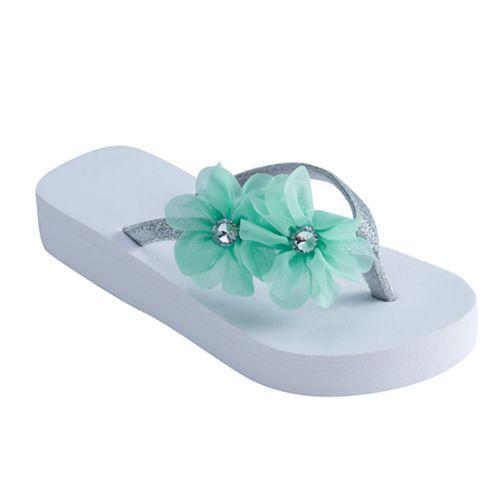 Girls 4-16 Chiffon Flower Wedge Flip Flops