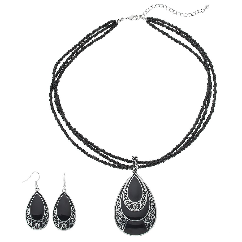 Multistrand Seed Bead Teardrop Pendant Necklace & Earring Set