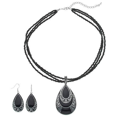 Multistrand Seed Bead Teardrop Pendant Necklace & Earring Set