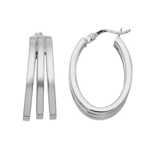 Platinum Over Silver Oval Multi Hoop Earrings