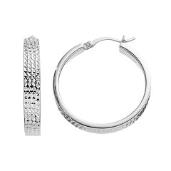 Platinum Over Silver Textured Hoop Earrings