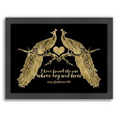Americanflat 'Peacock Pair' Framed Wall Art