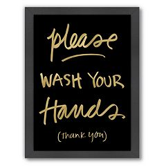 Americanflat 'Please Wash Hands' Framed Wall Art