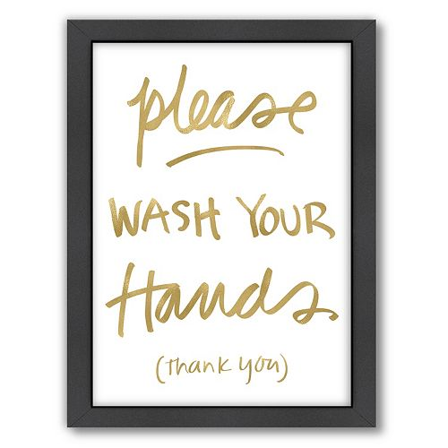 """Americanflat """"Please Wash Hands"""" Framed Wall Art"""