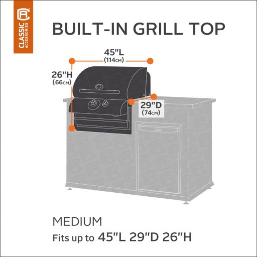 Classic Accessories Ravenna Patio Medium Small Built-in Grill Top Cover