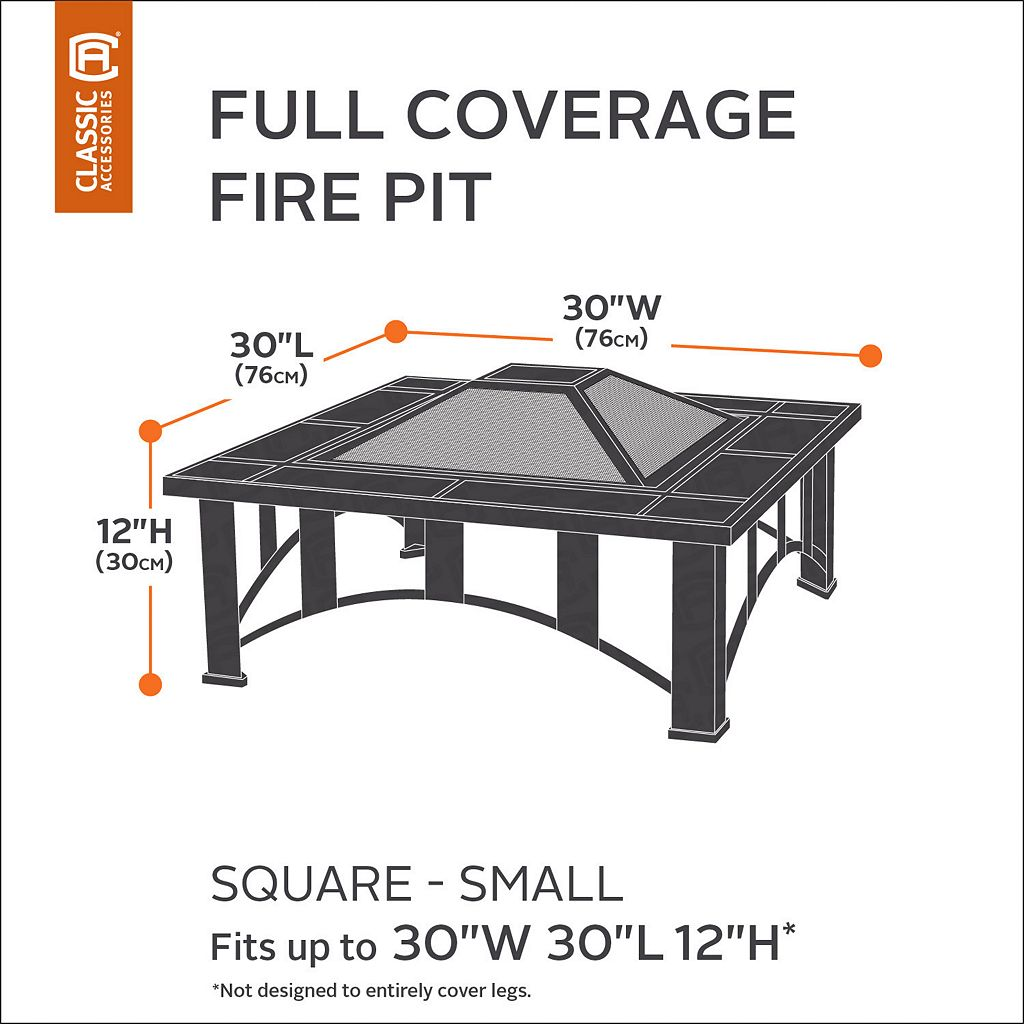 Classic Accessories Veranda Small Square Fire Pit Cover Full Coverage
