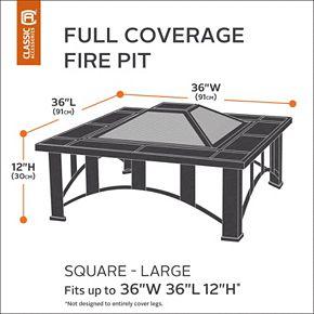 Classic Accessories Veranda Large Square Fire Pit Cover Full Coverage