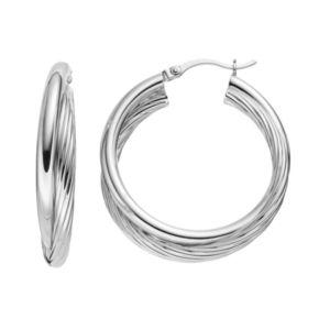 Platinum Over Silver Twist Hoop Earrings