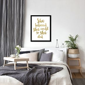 """Americanflat """"She Believed She Could"""" Framed Wall Art"""
