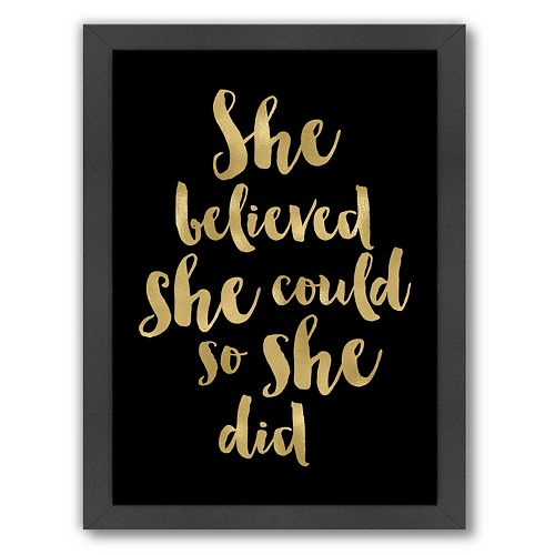 "Americanflat ""She Believed She Could"" Framed Wall Art"
